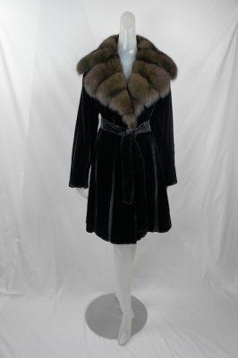 Black Sheared Mink Stroller w Sable Collar
