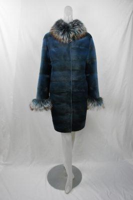Blue Horizontal Sheared Mink w Fox Collar and Cuffs