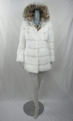 White Mink Stroller w Lynx Hood Collar